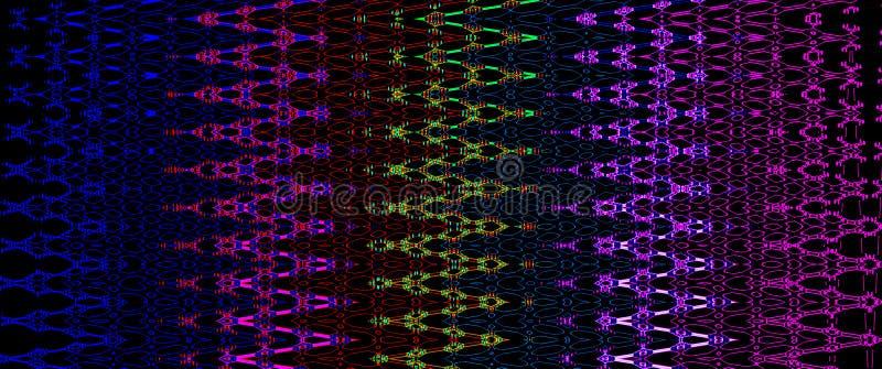 Het heldere veelkleurige gloeiende patroon van zigzaglijnen stock illustratie