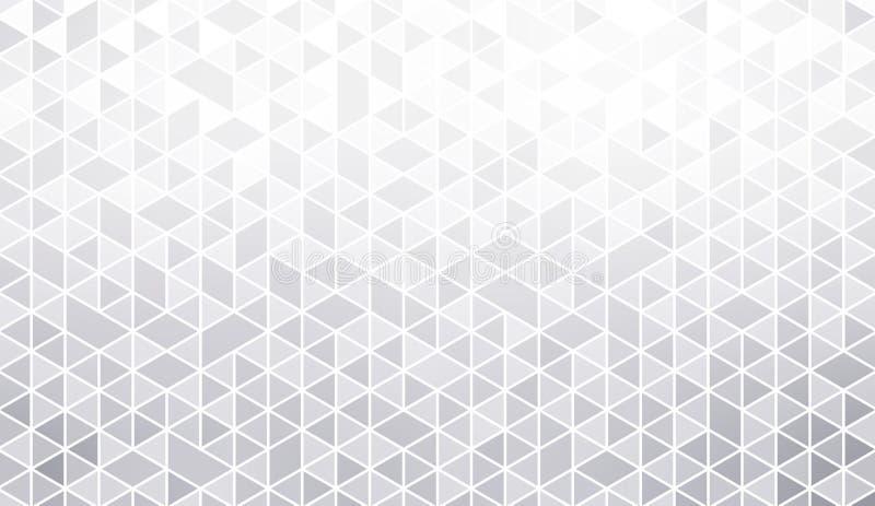Het heldere witte grijze abstracte patroon van driehoekstegels Lichte lege achtergrond Het subtiele behang van de mozaïekflikkeri royalty-vrije illustratie