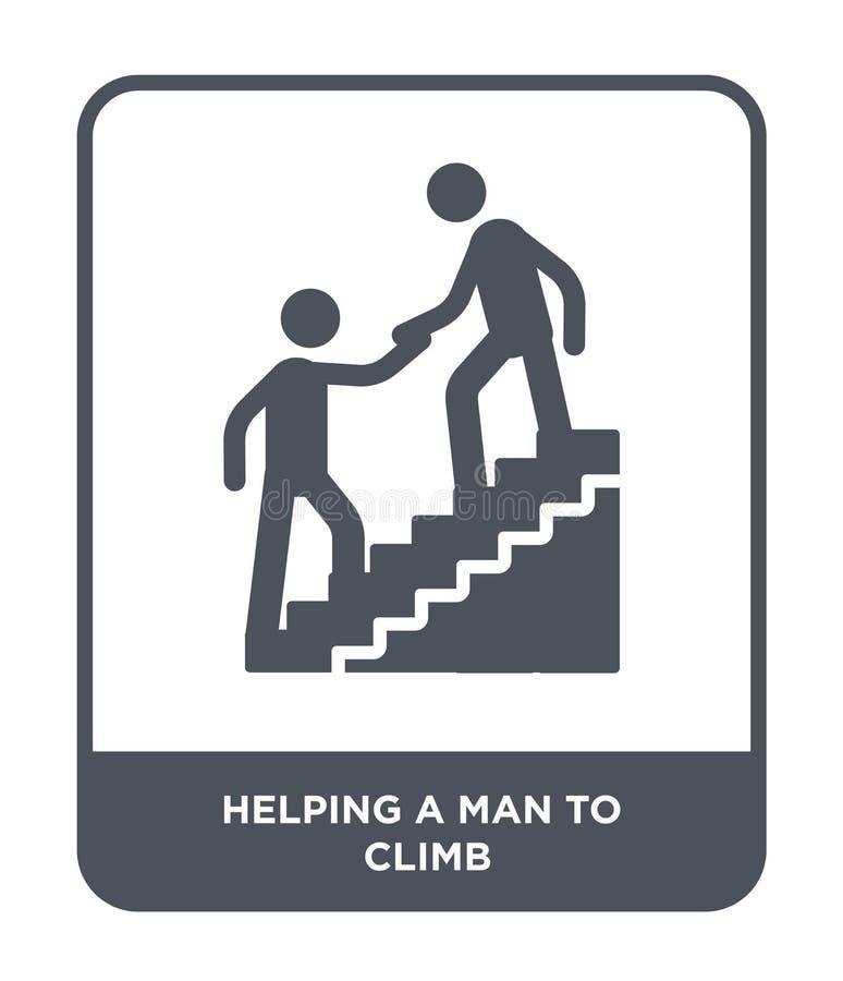 het helpen van een mens om pictogram in in ontwerpstijl te beklimmen helpend een mens die pictogram te beklimmen op witte achterg stock illustratie