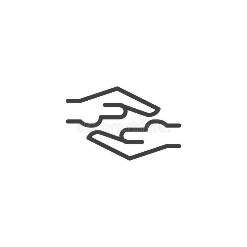 Het helpen van het pictogram van het handenoverzicht vector illustratie