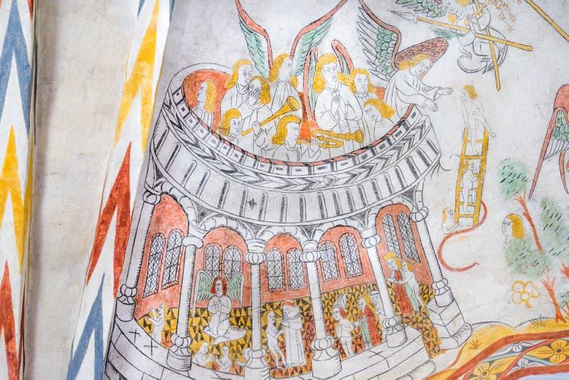 Het hemelse orkest spelen, middeleeuwse gotische muurschildering royalty-vrije stock afbeelding