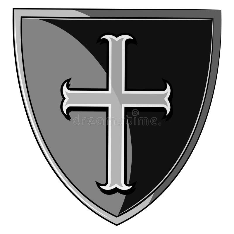 Het heraldische schild van de Kruisvaarder royalty-vrije illustratie