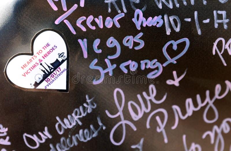 Het herdenkings schrijven voor Las Vegas die slachtoffers schieten stock fotografie