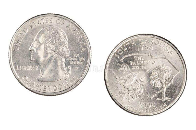 Het Herdenkingskwart Staat van de Zuid- van Carolina 2000p dat op een witte achtergrond wordt geïsoleerd royalty-vrije stock foto