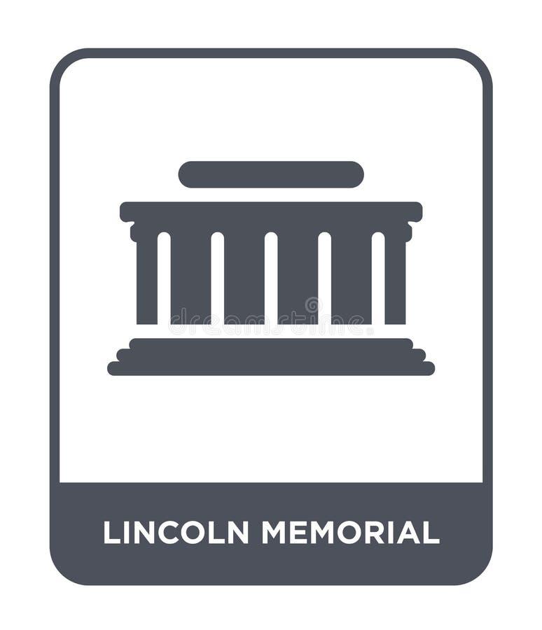 het herdenkingspictogram van Lincoln in in ontwerpstijl het herdenkingsdiepictogram van Lincoln op witte achtergrond wordt geïsol stock illustratie