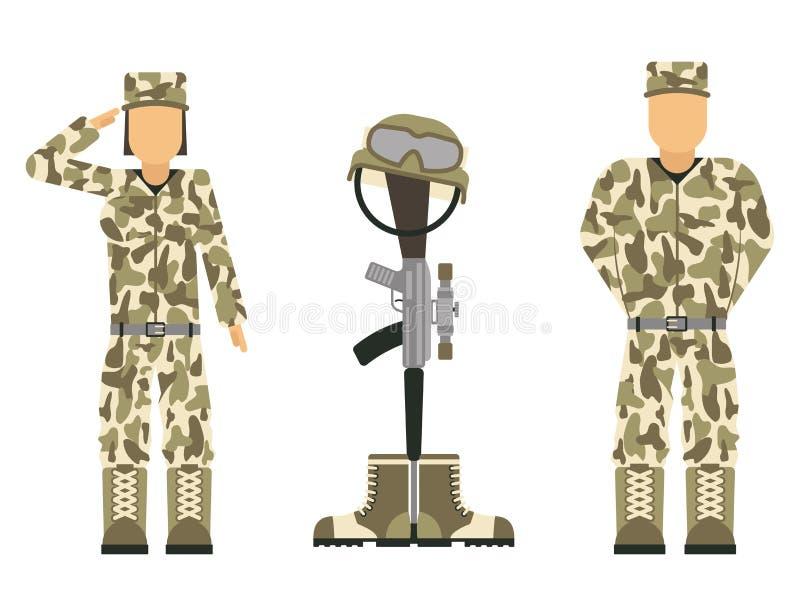 Het herdenkingssymbool van de slagveld dwars Amerikaanse eer van een gevallen van de militairkarakters van de V.S. modern de oorl vector illustratie
