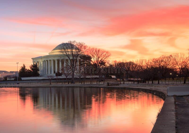 Het HerdenkingsWashington DC van Jefferson van de Zonsopgang van het landschap stock afbeeldingen