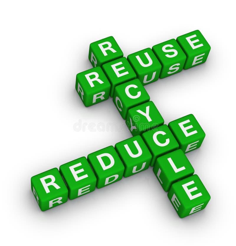 Het hergebruik, vermindert en recycleert royalty-vrije illustratie