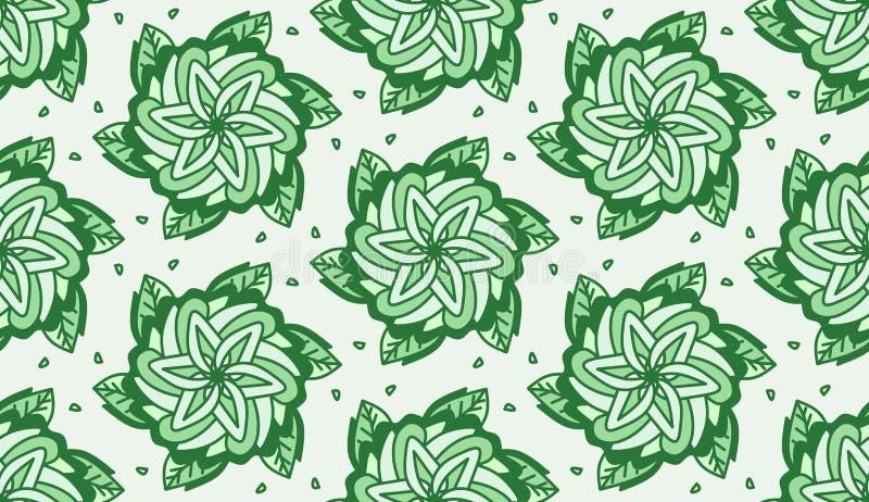 Het herhalen van Groene Bloemen met de Achtergrond van Bladerentileable stock afbeelding