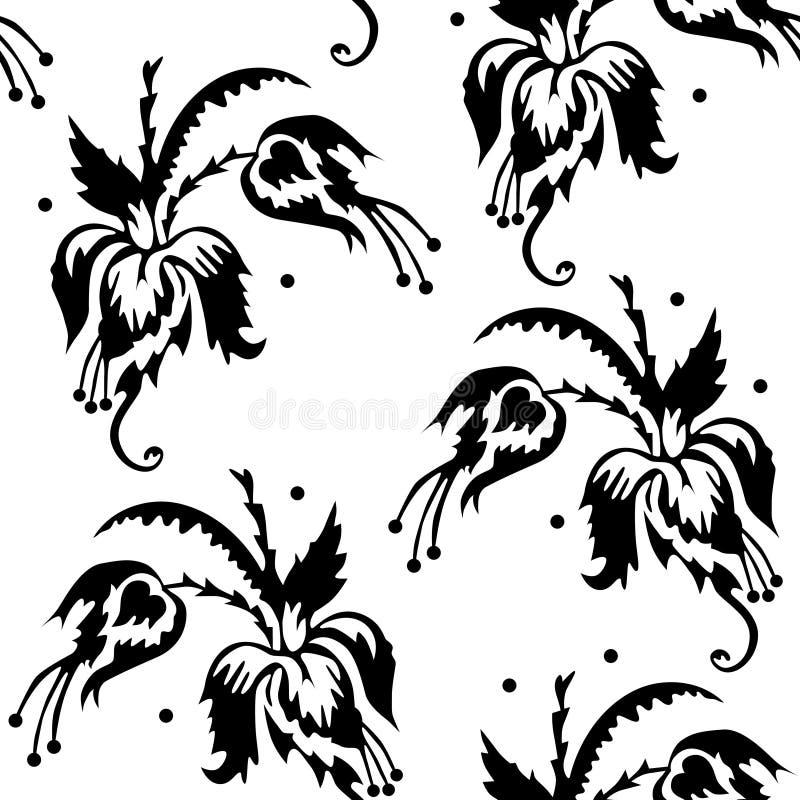 Het herhalen van patroon met abstracte bloemen Vector Naadloze Patronen stock illustratie