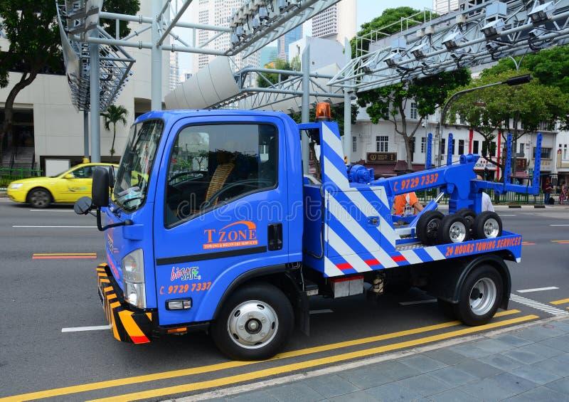 Het herstellen van wegen op één van de straat van Singapore royalty-vrije stock afbeelding