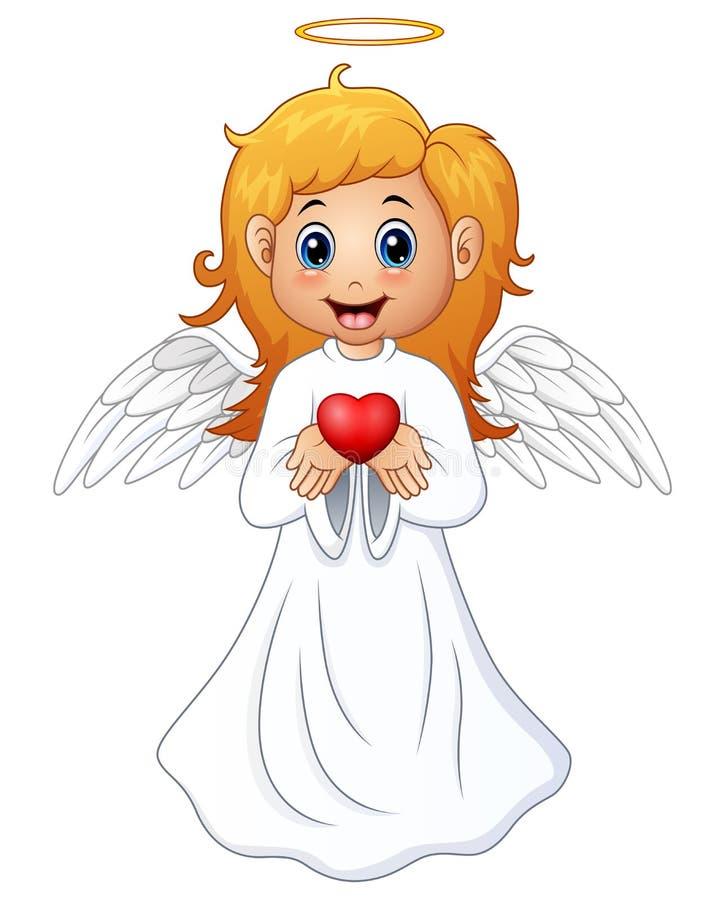 Het het blondemeisje van het engelenhaar stelt een rood hart voor vector illustratie