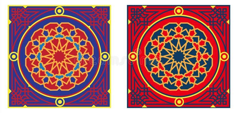 Het het Egyptische 3-rood & Blauw van het Patroon van de Stof van de Tent stock illustratie