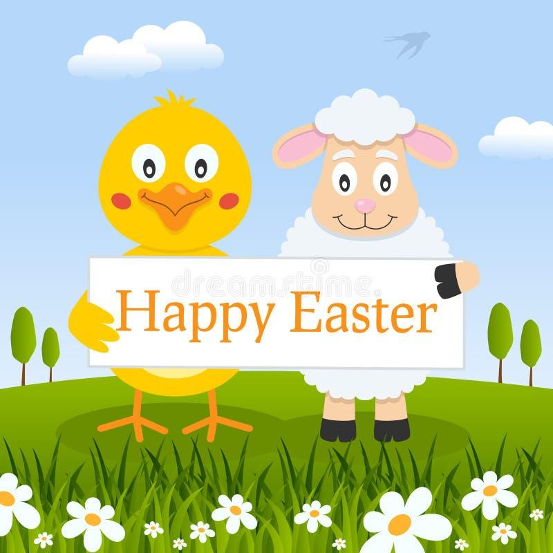 Het het gelukkige Kuiken & Lam van Pasen in een Weide stock illustratie