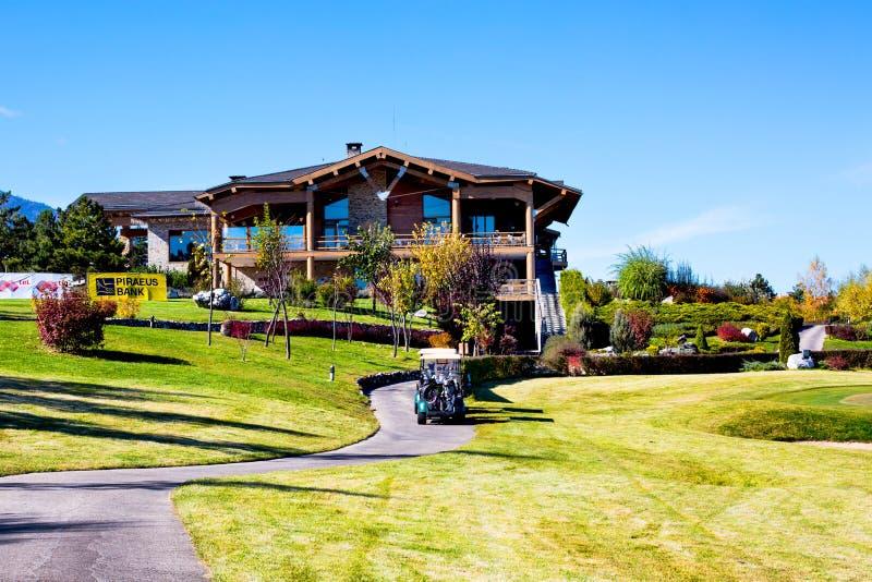 Het het kleurrijke huis en restaurant van de Piringolfclub, stock foto