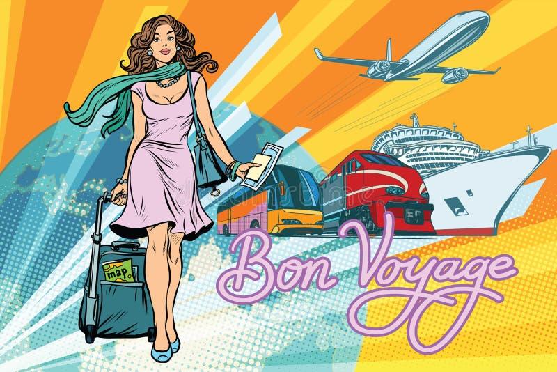 Het het mooie van de de toeristenbus van de vrouwenpassagier van de de treincruise schip en plan vector illustratie