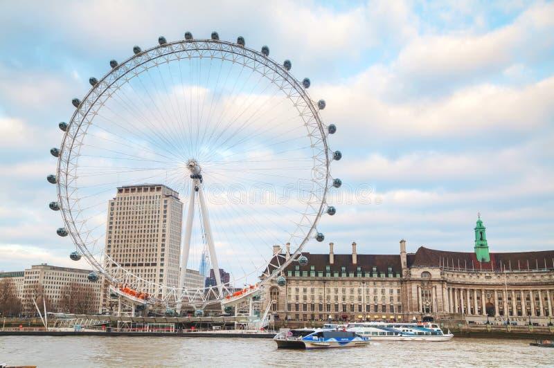 Het het Oogreuzenrad van Londen in Londen, het UK stock afbeeldingen
