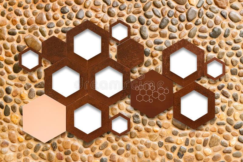 Het het pictogramteken van de metaalmolecule op de achtergrond van de steenmuur met shado stock foto
