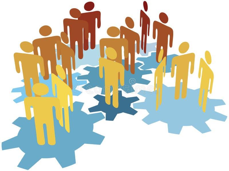 Het het teamwerk van mensen verbindt op blauwe toestellen royalty-vrije illustratie