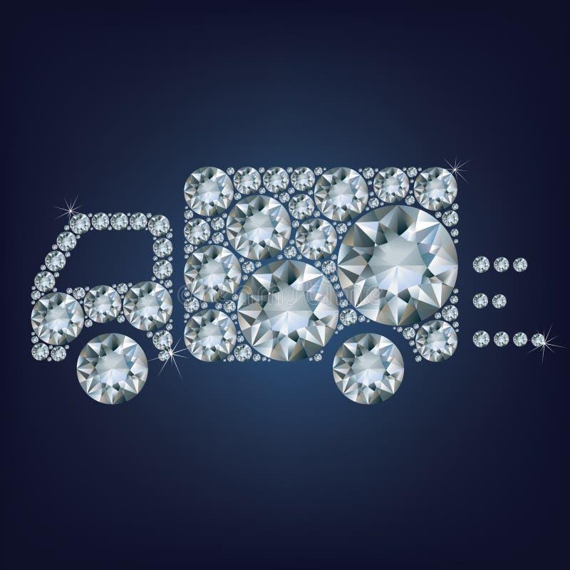 Het het tekenpictogram van de leveringsvrachtwagen maakte heel wat diamanten royalty-vrije illustratie