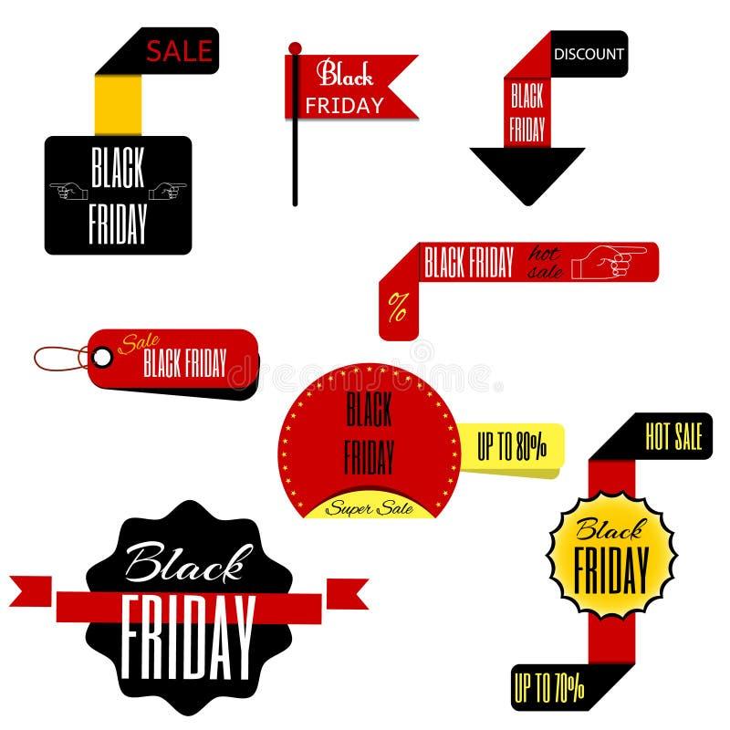 Het het zwarte etiket en kenteken van de vrijdagverkoop Vector stock illustratie