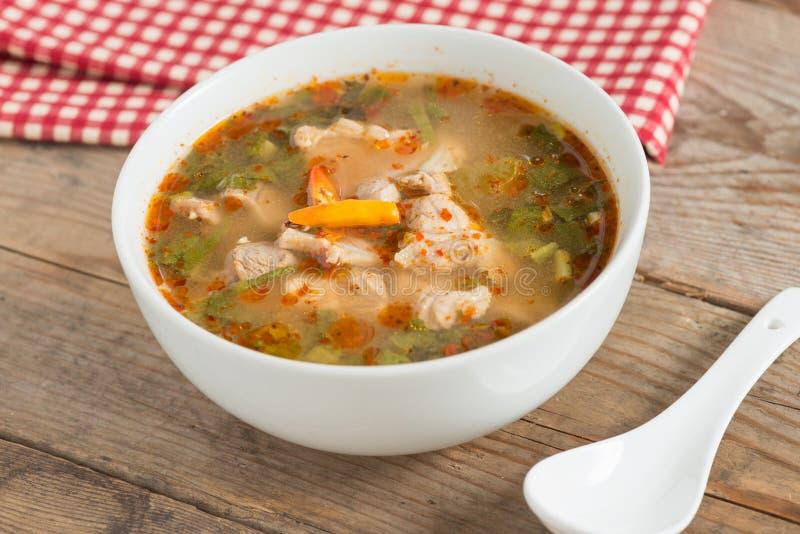 Het hete en kruidige kraakbeen van het soepvarkensvlees met Thais kruid royalty-vrije stock foto's