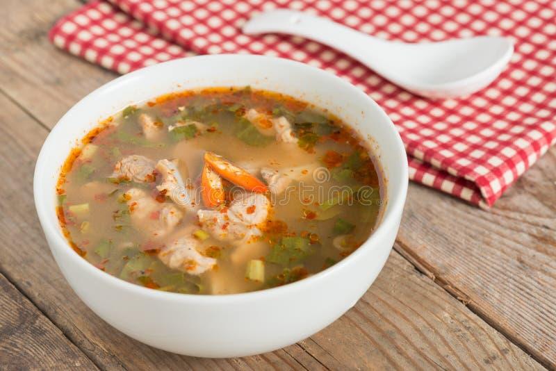 Het hete en kruidige kraakbeen van het soepvarkensvlees met Thais kruid stock afbeelding