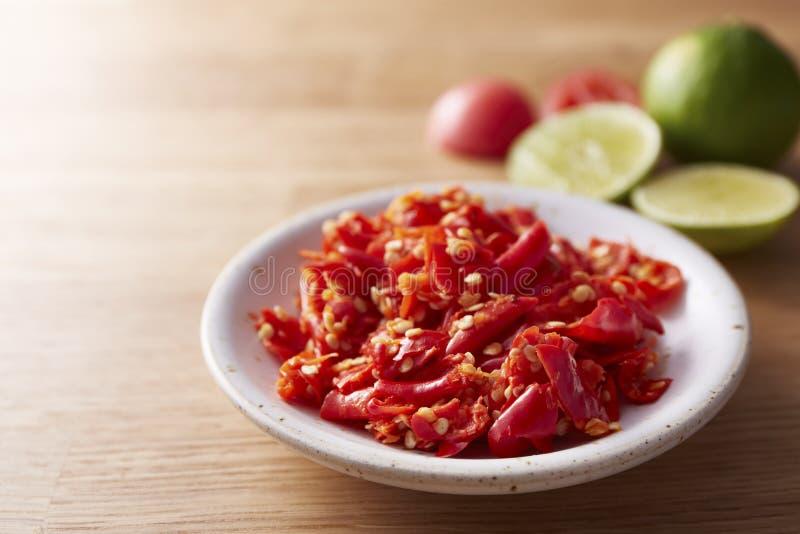 Het hete kruidige rode Thaise pond van de Spaanse peperpeper stock fotografie