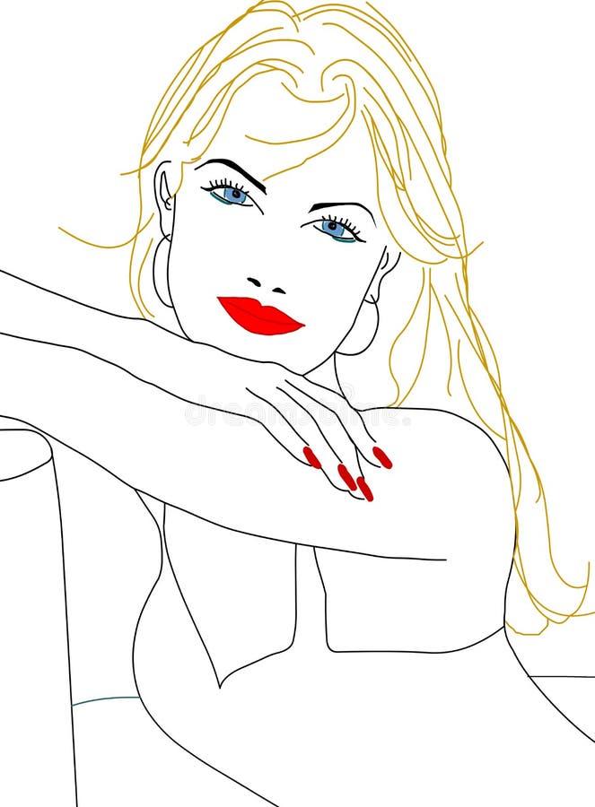 Het hete mooie silhouet van de meisjesvrouw stock illustratie