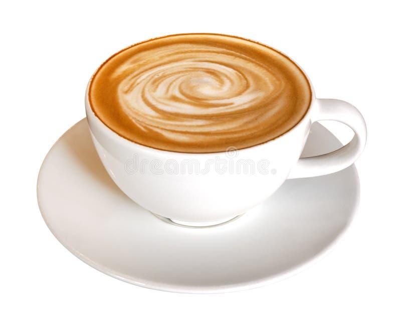 Het hete spiraalvormige die schuim van de koffie latte cappuccino op witte achtergrond, weg wordt geïsoleerd royalty-vrije stock afbeeldingen