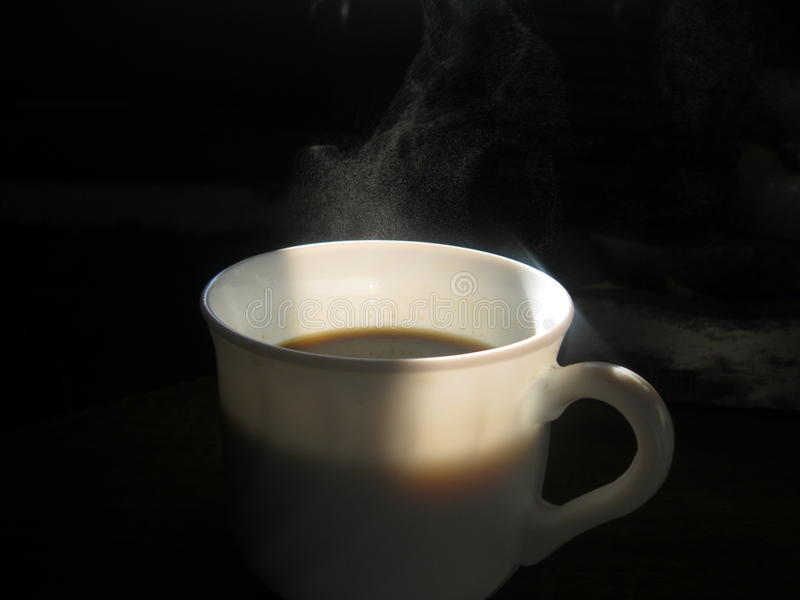Het hete zwarte Ontbijt van de koffiekop stock fotografie