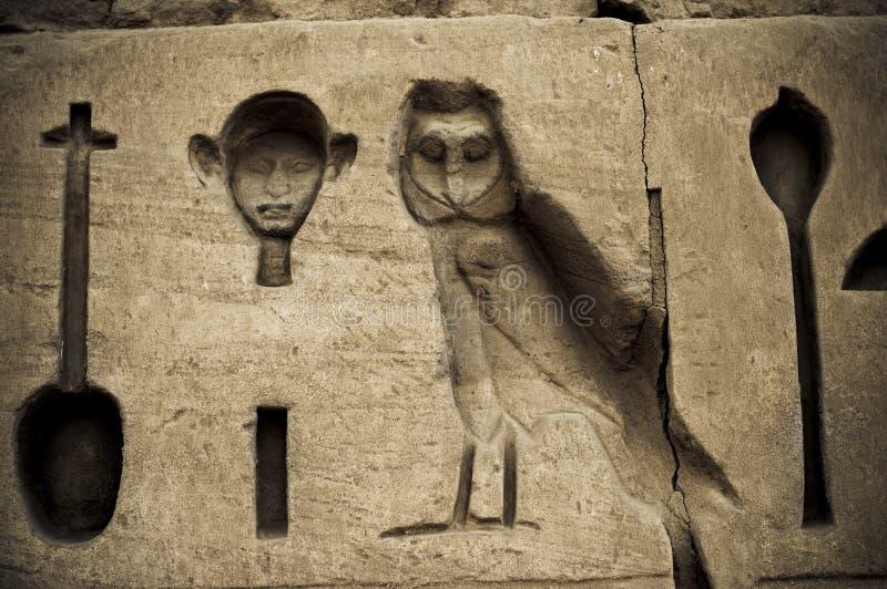 Het hiëroglyfische schrijven in Karnak, Egypte. stock foto's