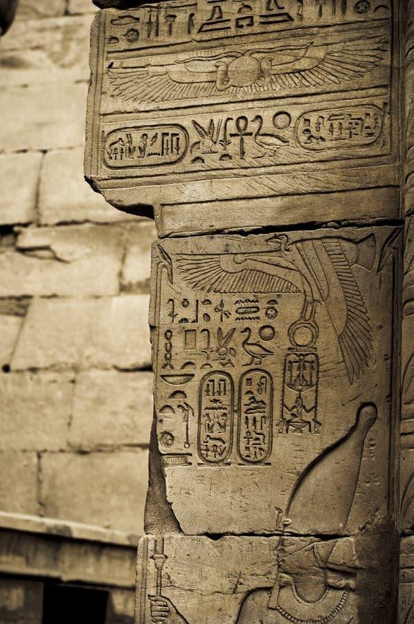 Het hiëroglyfische schrijven met de cartouche van Koningen, Karnak stock afbeeldingen