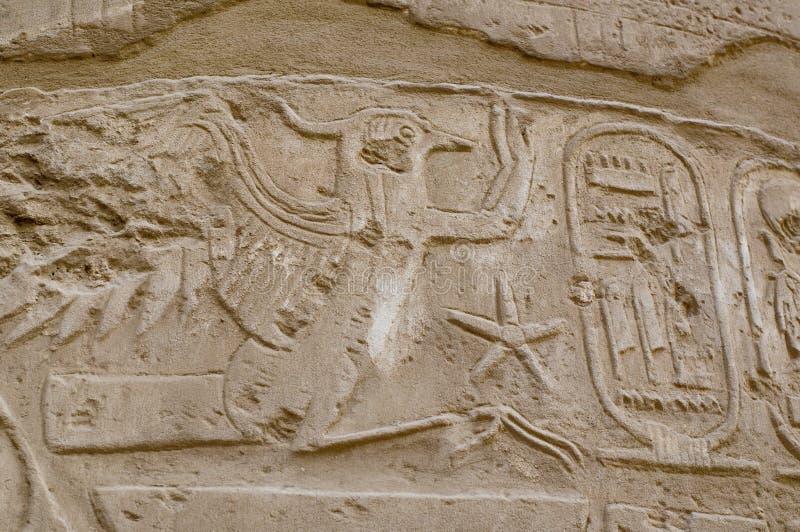 Het hiëroglyfische schrijven met de cartouche van Koningen, Karnak royalty-vrije stock afbeeldingen