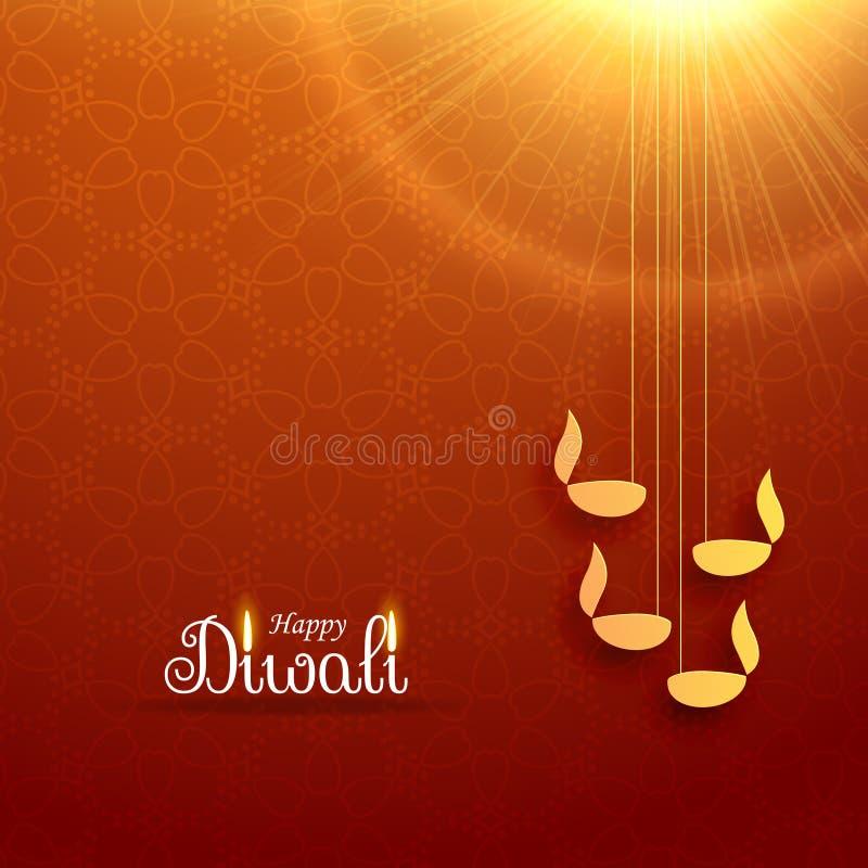 Het Hindoese ontwerp van de de groetkaart van het diwalifestival met het hangen van lamp en stock illustratie