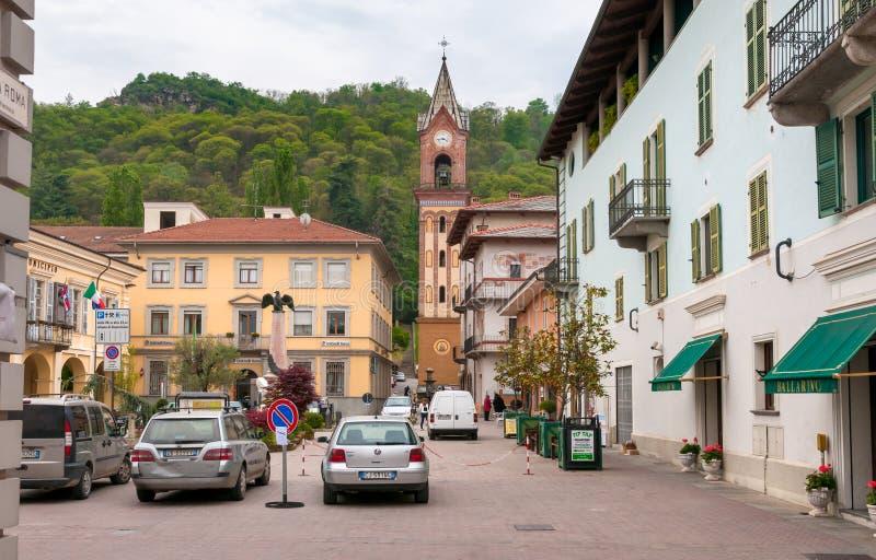 Het historische centrum van Cavour, is een gemeenschappelijke Italiaanse metropolitaanse stad van Turijn in Piemonte royalty-vrije stock afbeeldingen