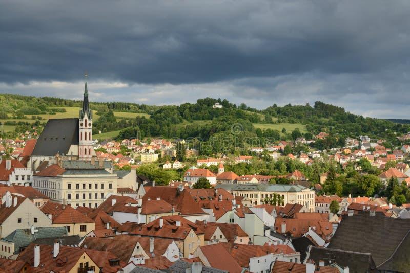 Het historische centrum van Ceskykrumlov royalty-vrije stock afbeelding