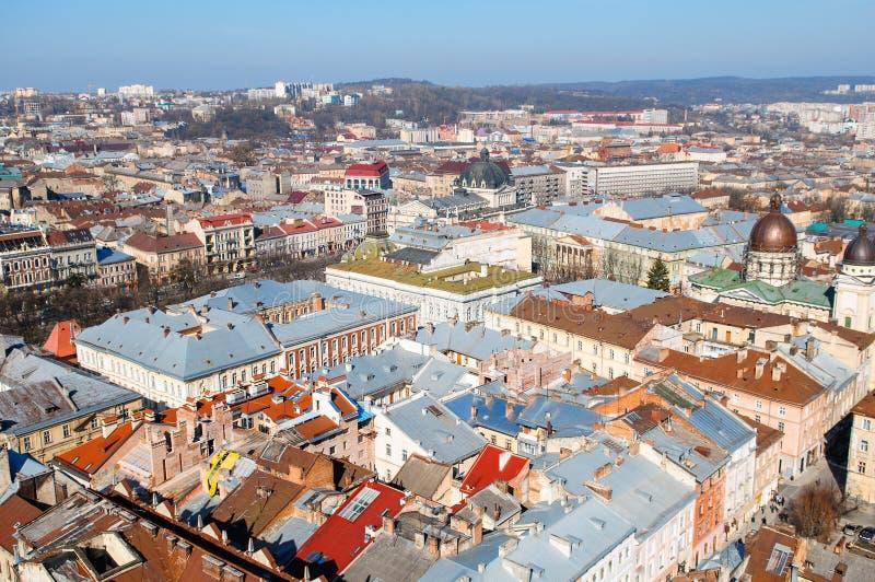 Het historische centrum van de stad van Lviv, hoogste mening royalty-vrije stock afbeeldingen