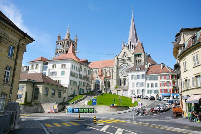Het historische centrum van Laussane stock afbeelding