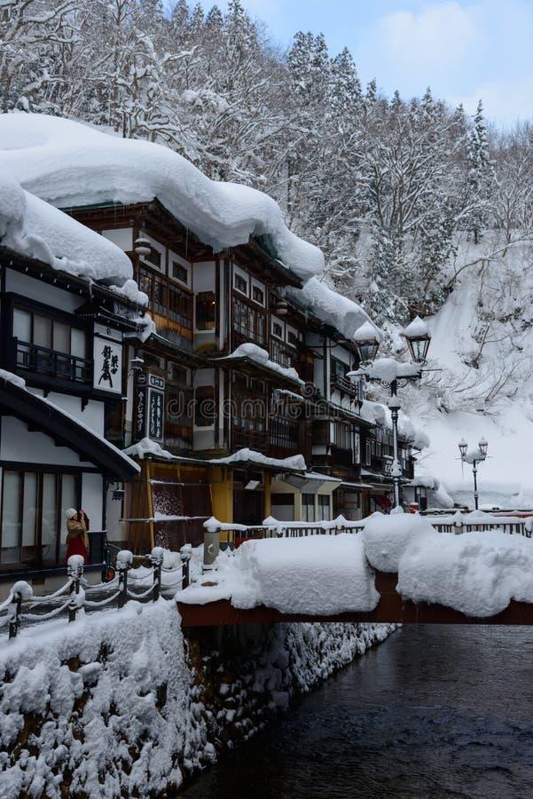 Het historische District van ginzan-Onsen in de winter royalty-vrije stock foto