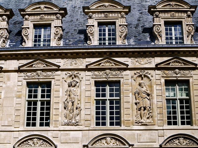 Het historische gebied van gebouwenParijs Le Marais stock foto