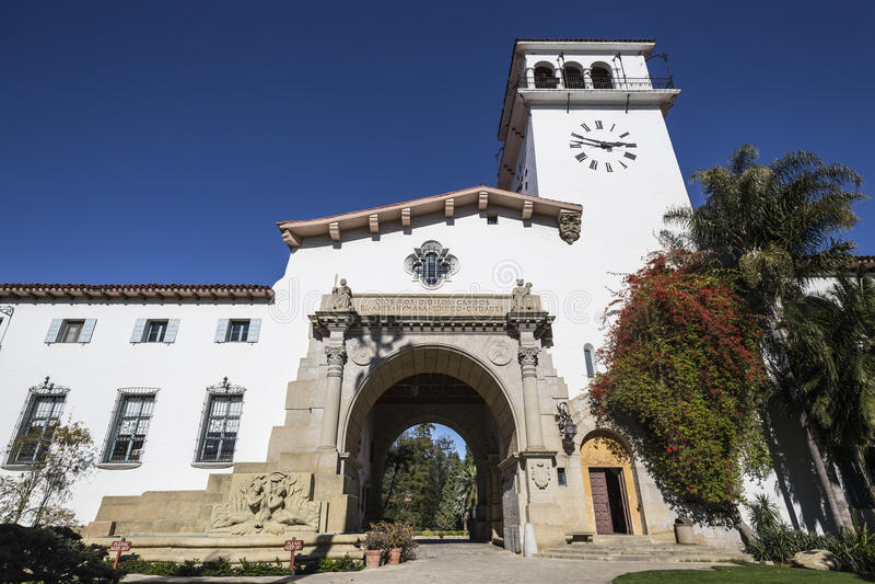 Het historische Gerechtsgebouw van de Provincie van Barbara Californië van de Kerstman stock afbeeldingen