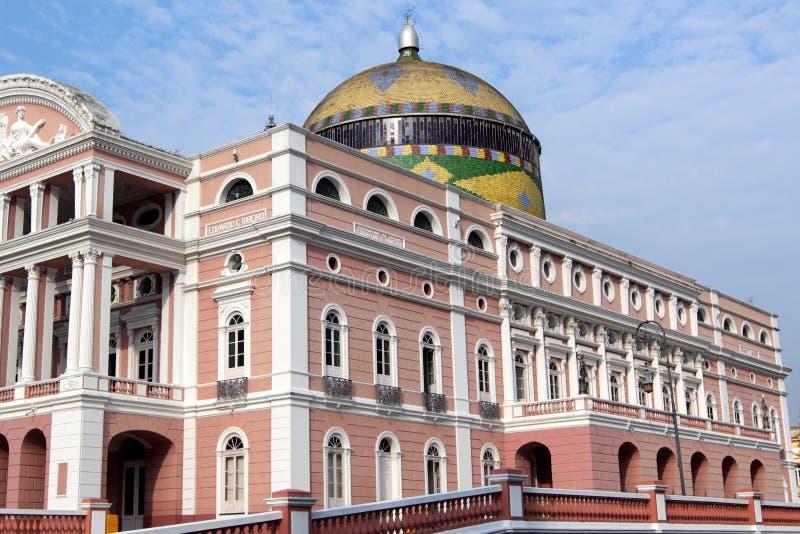 Het historische Huis van de Opera van Manaus stock foto