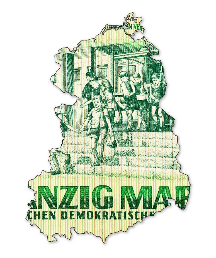 Het historische 20 Oostduitse omgekeerde van het tekenbankbiljet in vorm stock afbeeldingen