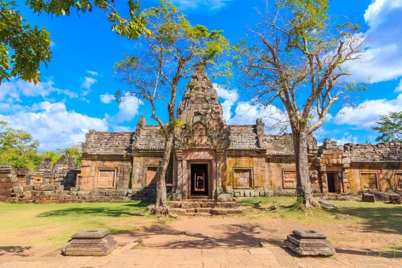 Het historische park van de Phanomsport, een oude de werelderfenis van het steenkasteel in Thailand stock fotografie