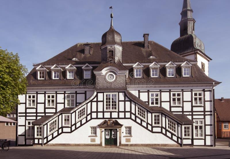 Het historische stadhuis _Kreis GÃ ¼ van Rietberger tersloh, het Noorden Rhin stock afbeeldingen