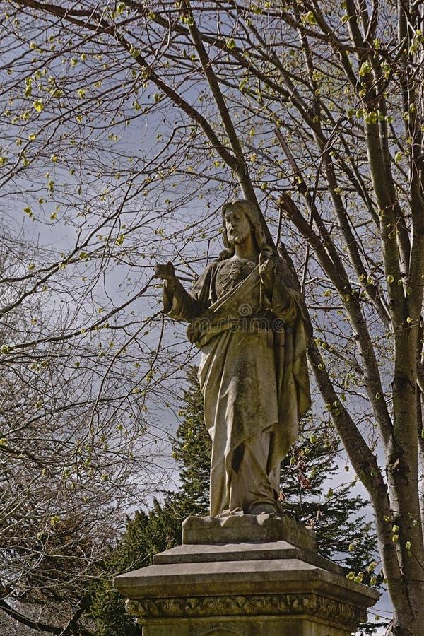 Het historische standbeeld van Jesus-Christus in Glasnevin-begraafplaats, Dublin stock fotografie