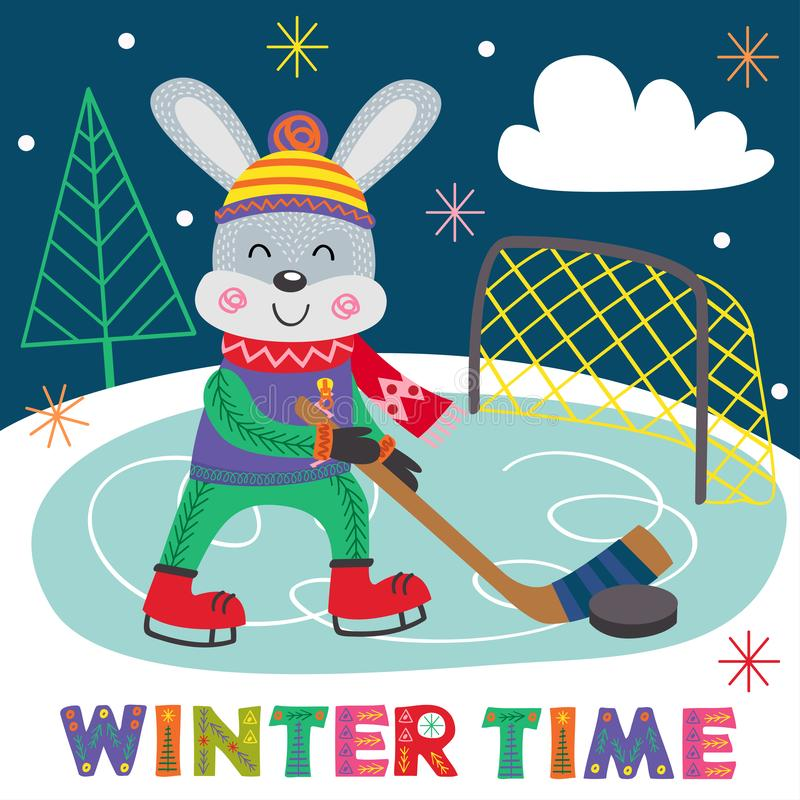 Het hockey van de hazenspelen van de de winteraffiche stock illustratie