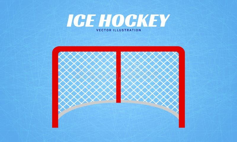 Het hockeydoel post vectorillustratie Wintersportenachtergrond Het ontwerp van de ijshockeypoort Vlakke stijl vector illustratie