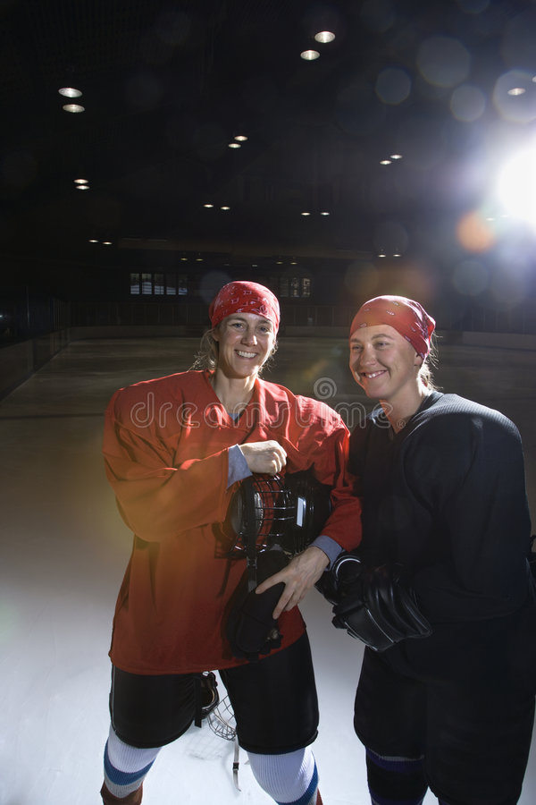 Het hockeyspelers van vrouwen. stock fotografie